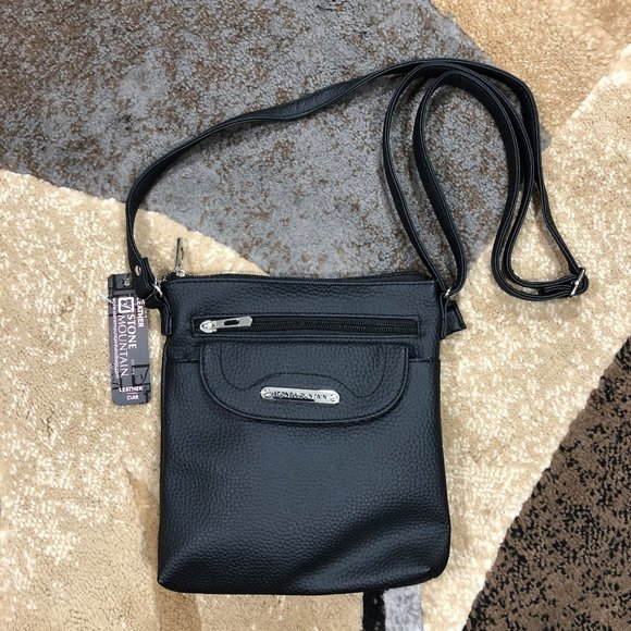 Stone Mountain Handbags - Women's Stone Mountain Blk Crossbody Leather Purse